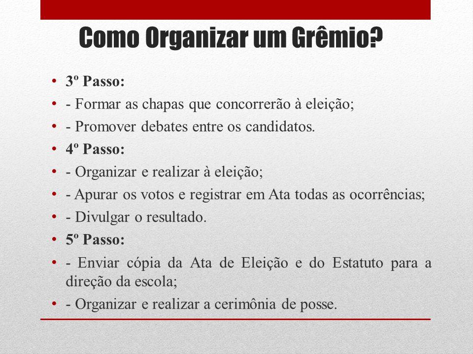 Como Organizar um Grêmio? 3º Passo: - Formar as chapas que concorrerão à eleição; - Promover debates entre os candidatos. 4º Passo: - Organizar e real
