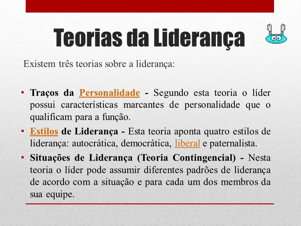 Teorias da Liderança Existem três teorias sobre a liderança: Traços da Personalidade - Segundo esta teoria o líder possui características marcantes de