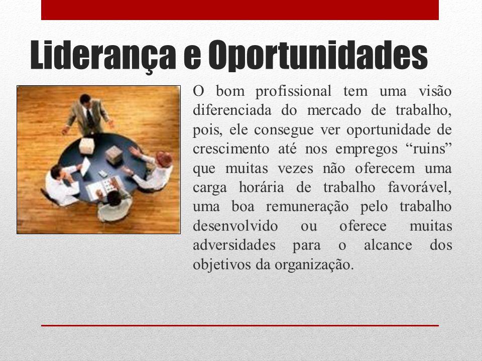 Liderança e Oportunidades Algumas estratégias podem ser adotadas pelo líder para transformar desvantagens em oportunidades de crescimento.