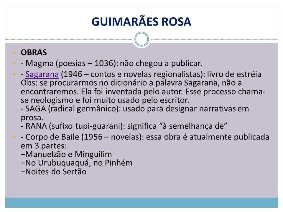 GUIMARÃES ROSA OBRAS - Magma (poesias – 1036): não chegou a publicar. - Sagarana (1946 – contos e novelas regionalistas): livro de estréia Obs: se pro