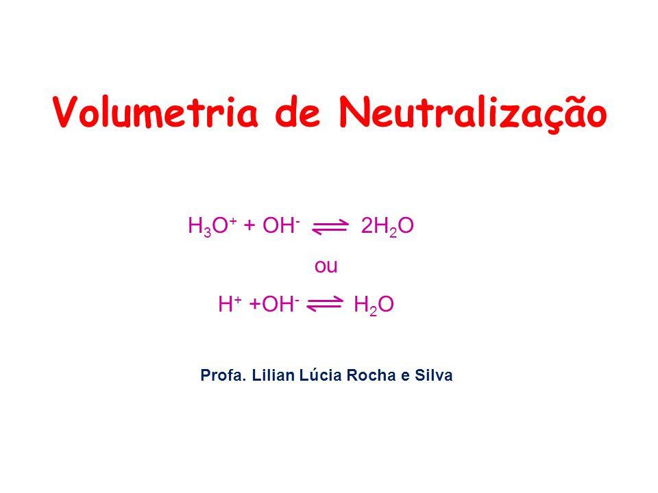 Volumetria de Neutralização H 3 O + + OH - 2H 2 O ou H + +OH - H 2 O Profa. Lilian Lúcia Rocha e Silva