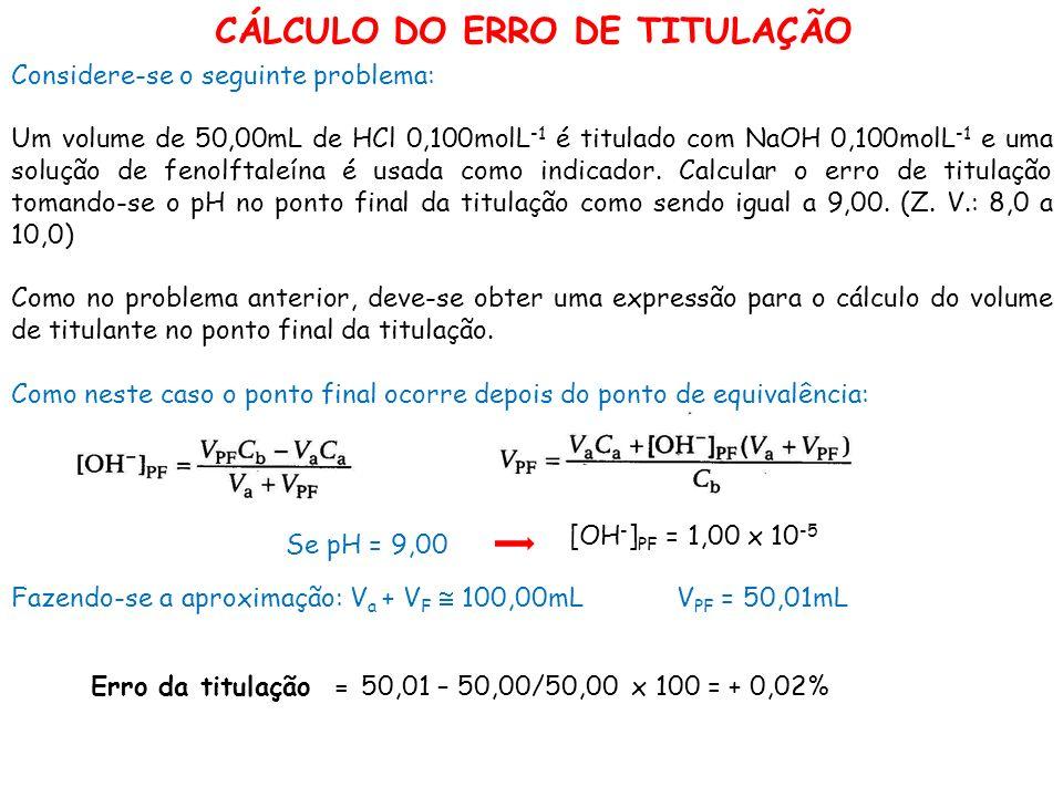 CÁLCULO DO ERRO DE TITULAÇÃO Considere-se o seguinte problema: Um volume de 50,00mL de HCl 0,100molL -1 é titulado com NaOH 0,100molL -1 e uma solução