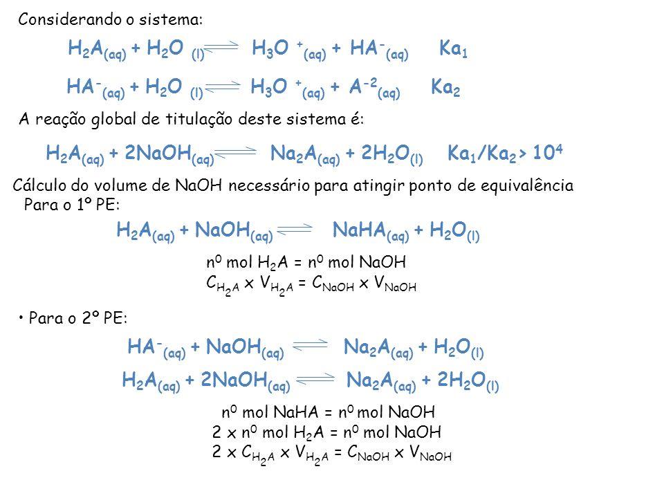 H 2 A (aq) + NaOH (aq) NaHA (aq) + H 2 O (l) HA - (aq) + NaOH (aq) Na 2 A (aq) + H 2 O (l) H 2 A (aq) + H 2 O (l) H 3 O + (aq) + HA - (aq) Ka 1 HA - (