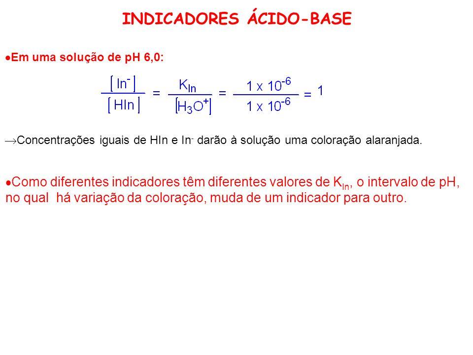 INDICADORES ÁCIDO-BASE Em uma solução de pH 6,0: Concentrações iguais de HIn e In - darão à solução uma coloração alaranjada. Como diferentes indicado