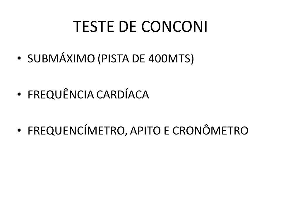 TESTE DE CONCONI SUBMÁXIMO (PISTA DE 400MTS) FREQUÊNCIA CARDÍACA FREQUENCÍMETRO, APITO E CRONÔMETRO
