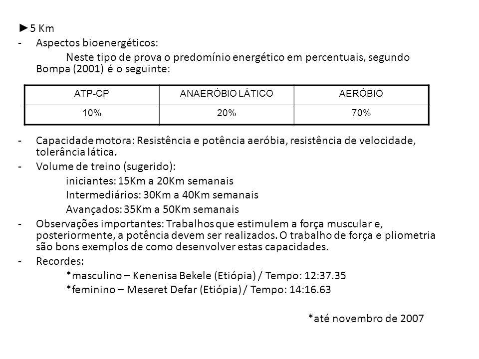 5 Km -Aspectos bioenergéticos: Neste tipo de prova o predomínio energético em percentuais, segundo Bompa (2001) é o seguinte: -Capacidade motora: Resi