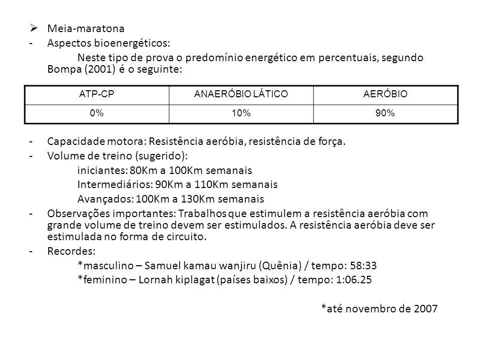 Meia-maratona -Aspectos bioenergéticos: Neste tipo de prova o predomínio energético em percentuais, segundo Bompa (2001) é o seguinte: -Capacidade mot