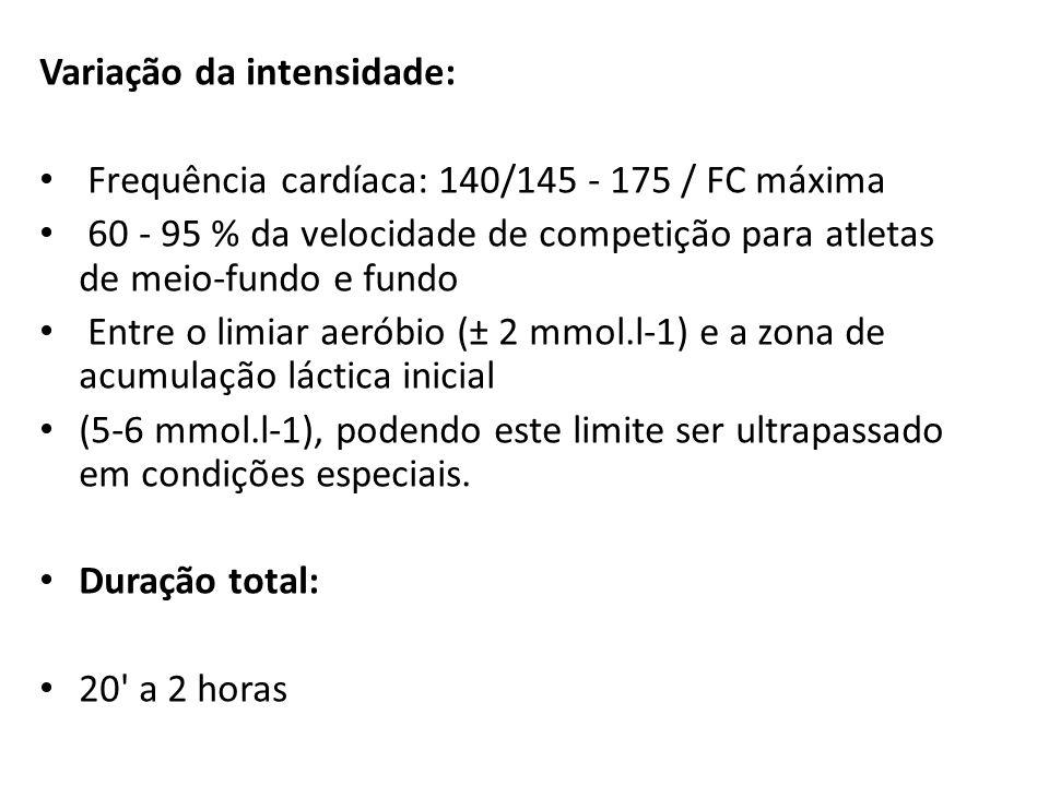 Variação da intensidade: Frequência cardíaca: 140/145 - 175 / FC máxima 60 - 95 % da velocidade de competição para atletas de meio-fundo e fundo Entre