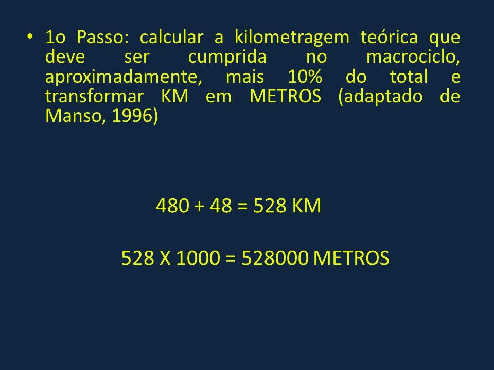 1o Passo: calcular a kilometragem teórica que deve ser cumprida no macrociclo, aproximadamente, mais 10% do total e transformar KM em METROS (adaptado