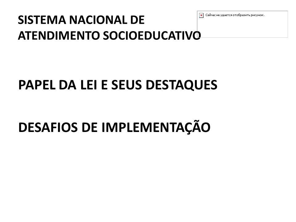 SISTEMA NACIONAL DE ATENDIMENTO SOCIOEDUCATIVO PAPEL DA LEI E SEUS DESTAQUES DESAFIOS DE IMPLEMENTAÇÃO
