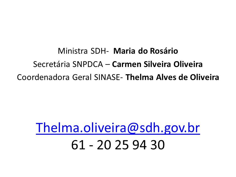 Thelma.oliveira@sdh.gov.br Thelma.oliveira@sdh.gov.br 61 - 20 25 94 30 Ministra SDH- Maria do Rosário Secretária SNPDCA – Carmen Silveira Oliveira Coo