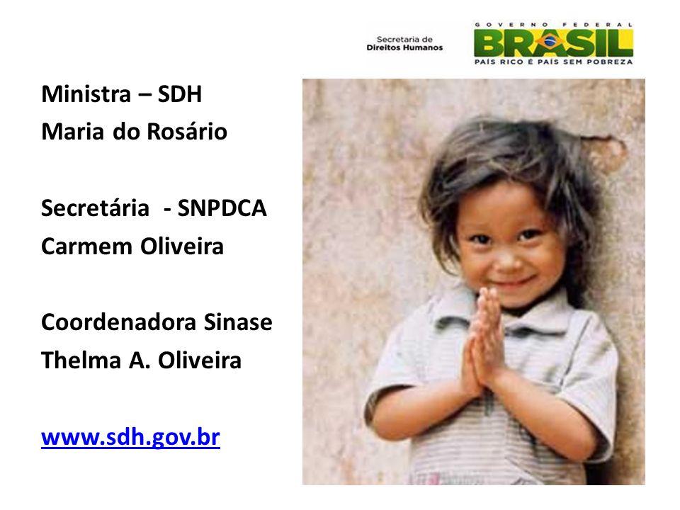 Ministra – SDH Maria do Rosário Secretária - SNPDCA Carmem Oliveira Coordenadora Sinase Thelma A. Oliveira www.sdh.gov.br
