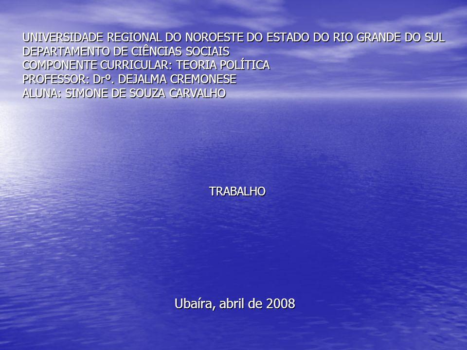 UNIVERSIDADE REGIONAL DO NOROESTE DO ESTADO DO RIO GRANDE DO SUL DEPARTAMENTO DE CIÊNCIAS SOCIAIS COMPONENTE CURRICULAR: TEORIA POLÍTICA PROFESSOR: Dr