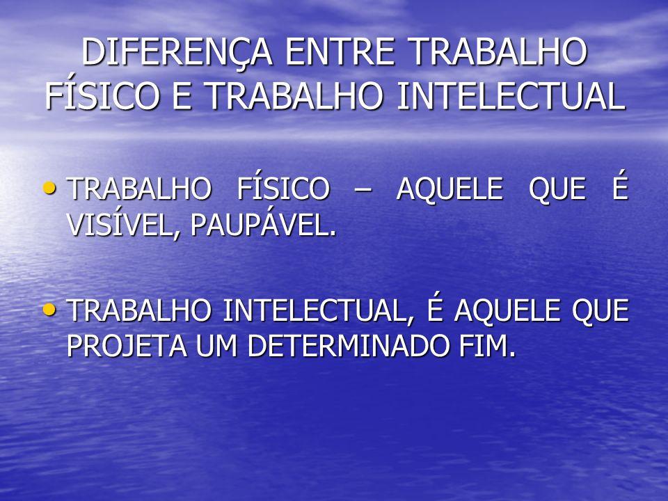 DIFERENÇA ENTRE TRABALHO FÍSICO E TRABALHO INTELECTUAL TRABALHO FÍSICO – AQUELE QUE É VISÍVEL, PAUPÁVEL. TRABALHO FÍSICO – AQUELE QUE É VISÍVEL, PAUPÁ