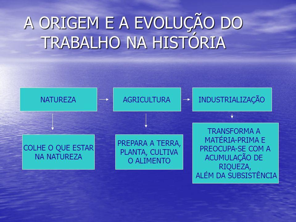 A ORIGEM E A EVOLUÇÃO DO TRABALHO NA HISTÓRIA NATUREZA AGRICULTURAINDUSTRIALIZAÇÃO COLHE O QUE ESTAR NA NATUREZA PREPARA A TERRA, PLANTA, CULTIVA O AL