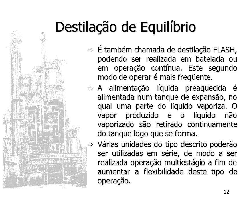 12 Destilação de Equilíbrio É também chamada de destilação FLASH, podendo ser realizada em batelada ou em operação contínua. Este segundo modo de oper