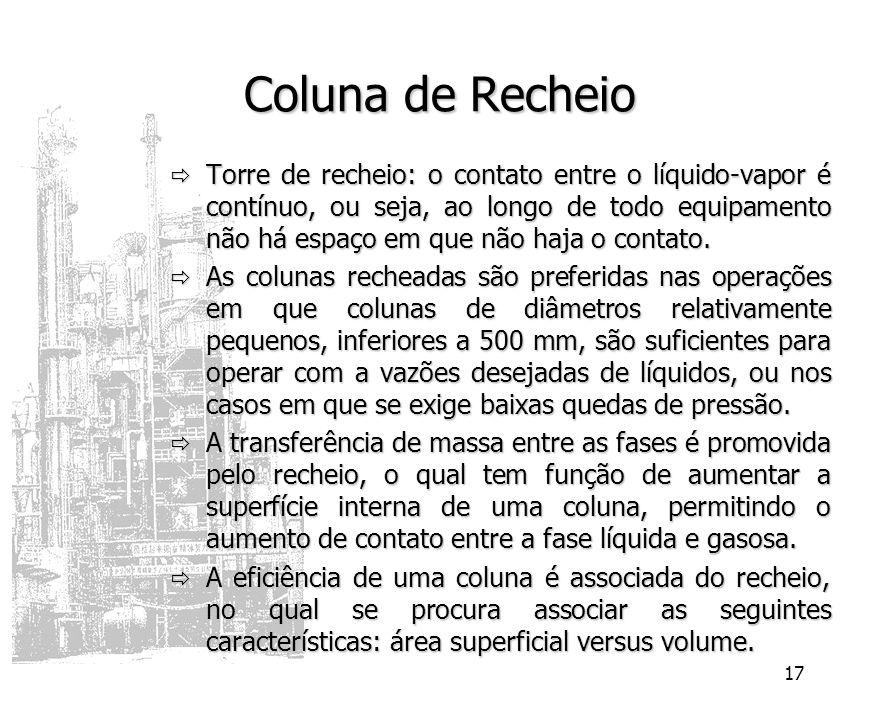 17 Coluna de Recheio Torre de recheio: o contato entre o líquido-vapor é contínuo, ou seja, ao longo de todo equipamento não há espaço em que não haja