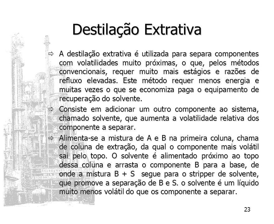 23 Destilação Extrativa A destilação extrativa é utilizada para separa componentes com volatilidades muito próximas, o que, pelos métodos convencionai