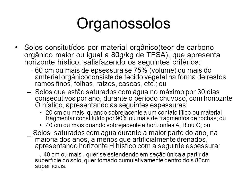 Organossolos Solos consitutídos por material orgânico(teor de carbono orgânico maior ou igual a 80g/kg de TFSA), que apresenta horizonte hístico, sati