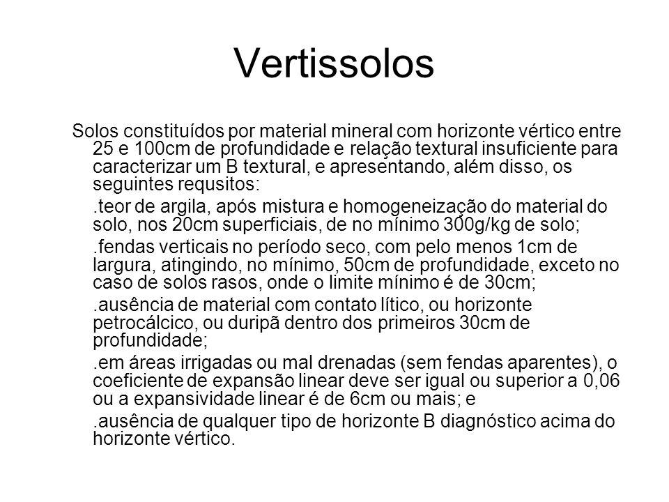 Vertissolos Solos constituídos por material mineral com horizonte vértico entre 25 e 100cm de profundidade e relação textural insuficiente para caract