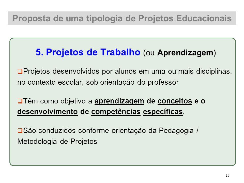 5. Projetos de Trabalho (ou Aprendizagem) Projetos desenvolvidos por alunos em uma ou mais disciplinas, no contexto escolar, sob orientação do profess