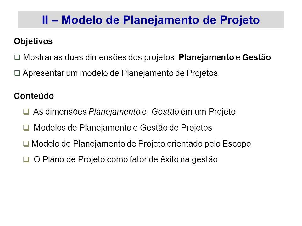 Objetivos Mostrar as duas dimensões dos projetos: Planejamento e Gestão Apresentar um modelo de Planejamento de Projetos Conteúdo As dimensões Planeja