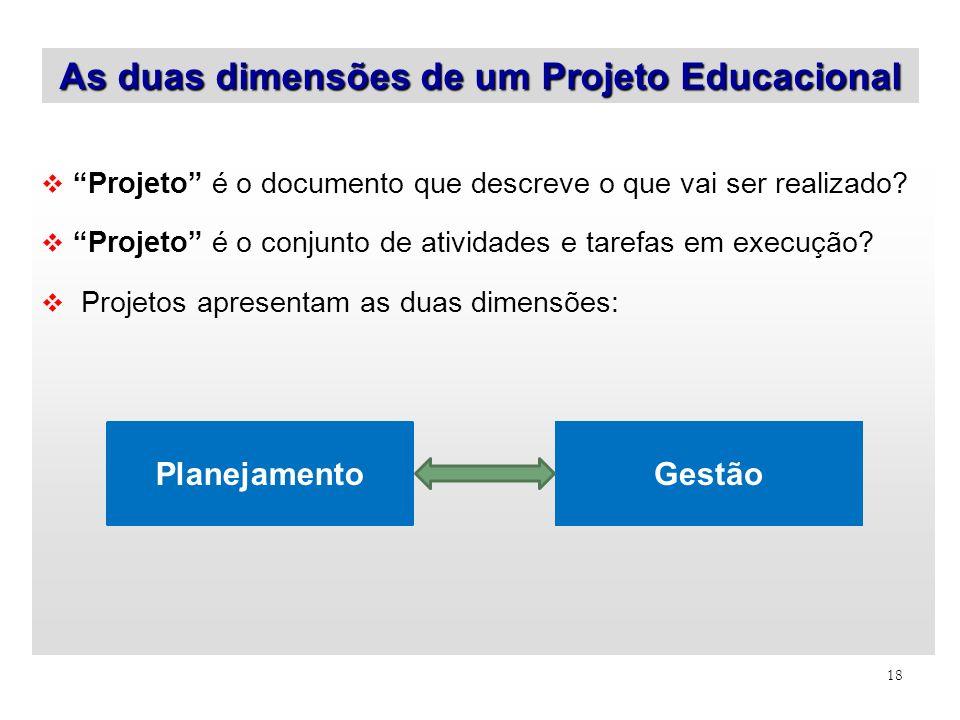 18 Projeto é o documento que descreve o que vai ser realizado? Projeto é o conjunto de atividades e tarefas em execução? Projetos apresentam as duas d