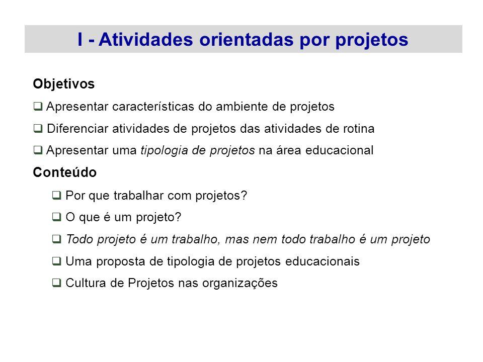 Objetivos Apresentar características do ambiente de projetos Diferenciar atividades de projetos das atividades de rotina Apresentar uma tipologia de p