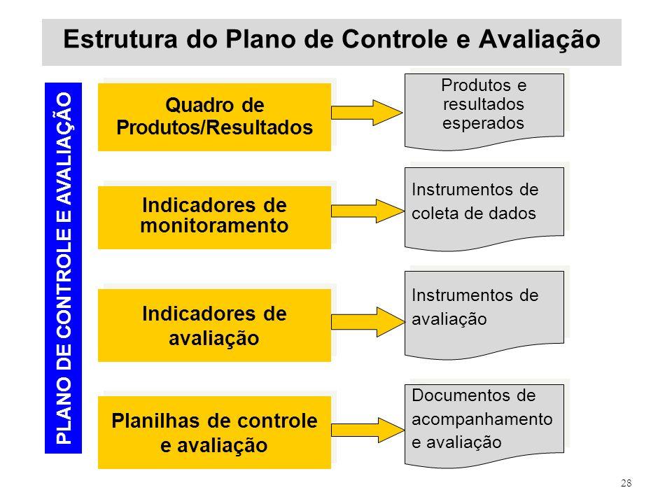 28 Estrutura do Plano de Controle e Avaliação Quadro de Produtos/Resultados Produtos e resultados esperados Indicadores de monitoramento Instrumentos