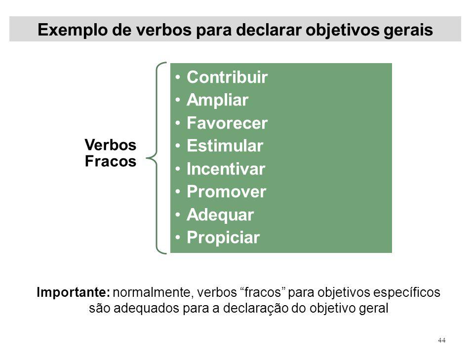Exemplo de verbos para declarar objetivos gerais 44 Verbos Fracos Contribuir Ampliar Favorecer Estimular Incentivar Promover Adequar Propiciar Importa