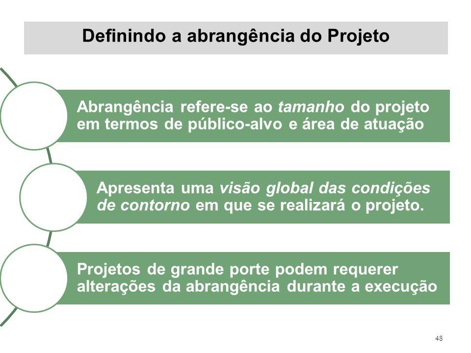 Definindo a abrangência do Projeto 48 Abrangência refere-se ao tamanho do projeto em termos de público-alvo e área de atuação Apresenta uma visão glob