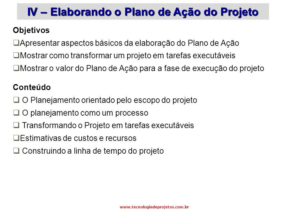 Objetivos Apresentar aspectos básicos da elaboração do Plano de Ação Mostrar como transformar um projeto em tarefas executáveis Mostrar o valor do Pla
