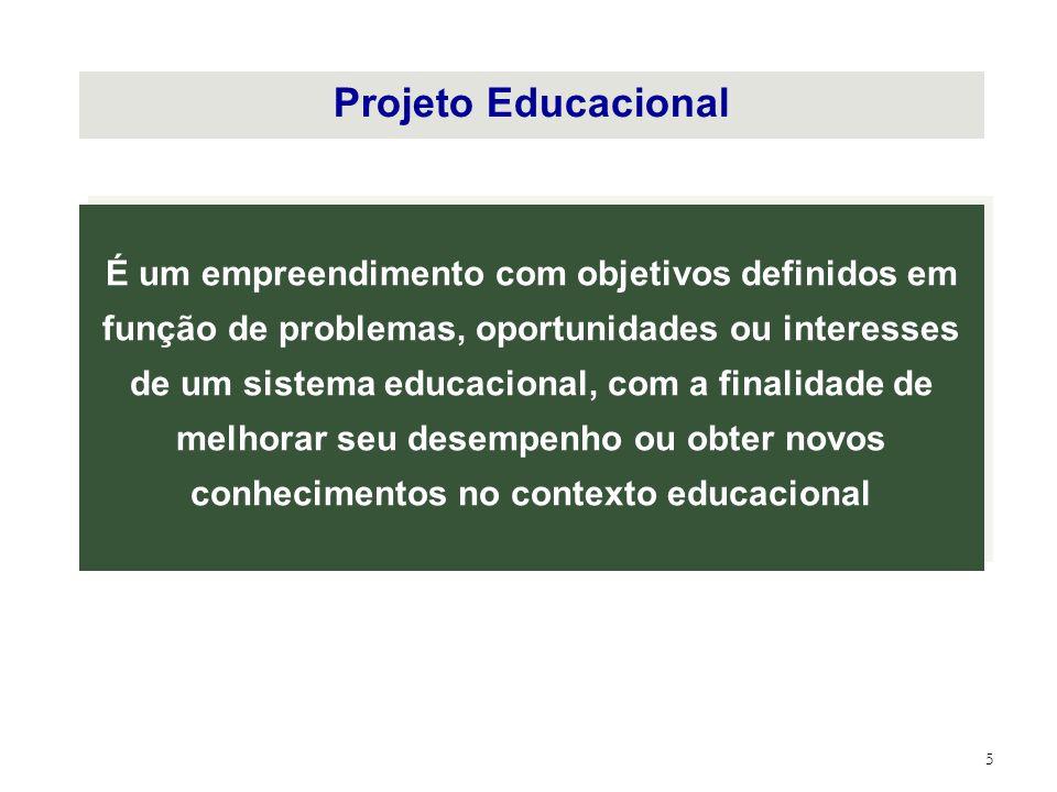 5 Projeto Educacional É um empreendimento com objetivos definidos em função de problemas, oportunidades ou interesses de um sistema educacional, com a