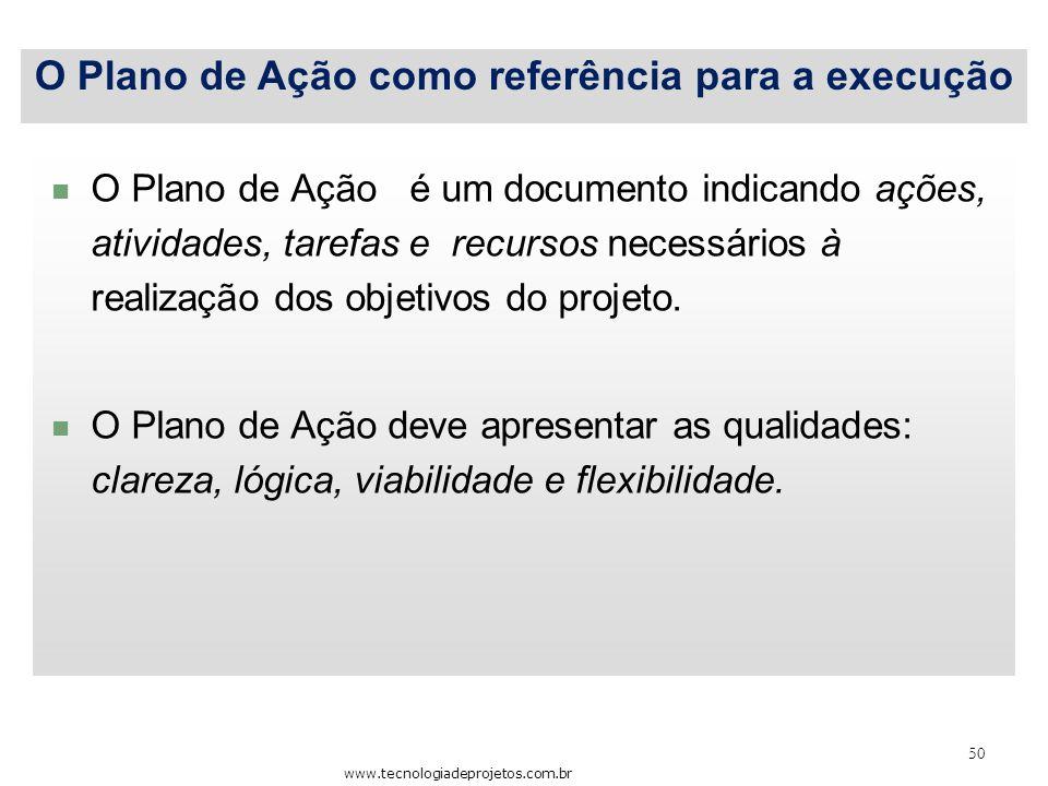 50 O Plano de Ação como referência para a execução www.tecnologiadeprojetos.com.br O Plano de Ação é um documento indicando ações, atividades, tarefas