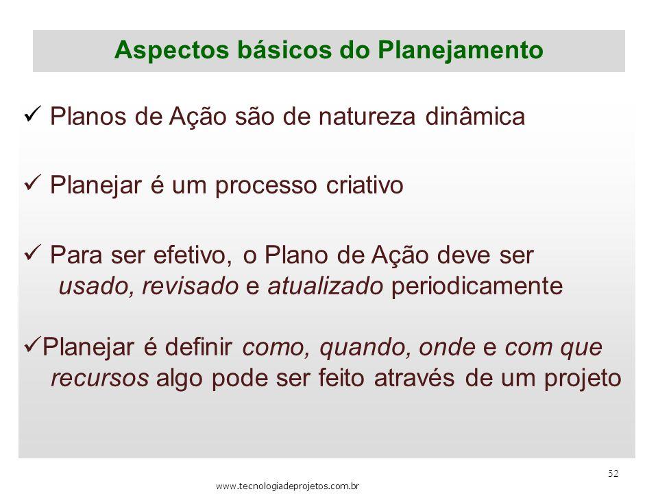 52 Aspectos básicos do Planejamento Planos de Ação são de natureza dinâmica Planejar é um processo criativo Para ser efetivo, o Plano de Ação deve ser