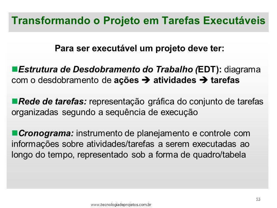 53 Transformando o Projeto em Tarefas Executáveis Para ser executável um projeto deve ter: Estrutura de Desdobramento do Trabalho (EDT): diagrama com