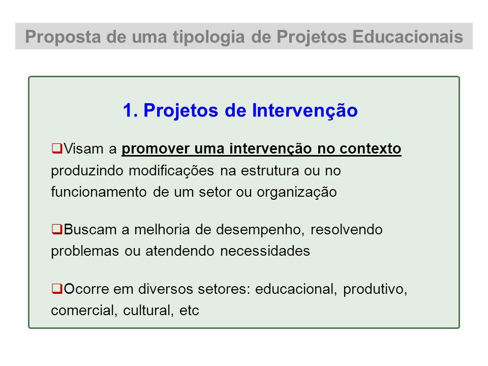 Proposta de uma tipologia de Projetos Educacionais 1. Projetos de Intervenção Visam a promover uma intervenção no contexto produzindo modificações na