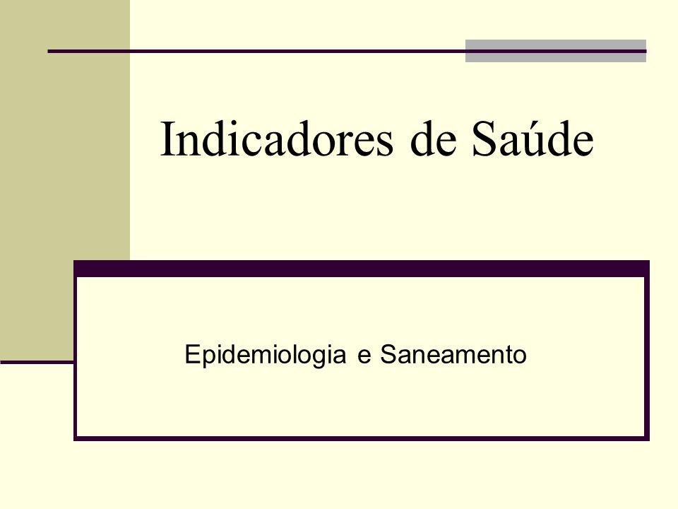 Indicadores de Saúde Epidemiologia e Saneamento