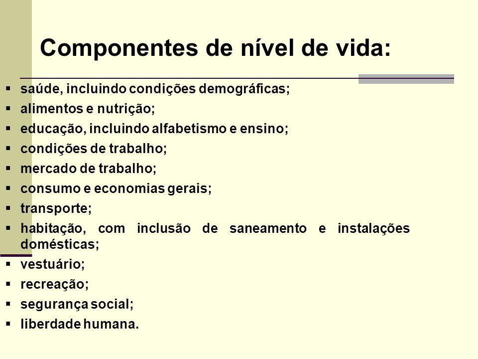 Componentes de nível de vida: saúde, incluindo condições demográficas; alimentos e nutrição; educação, incluindo alfabetismo e ensino; condições de tr