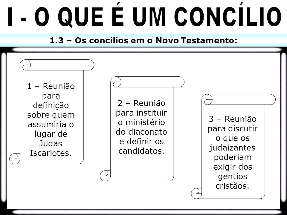 1.3 – Os concílios em o Novo Testamento: 1 – Reunião para definição sobre quem assumiria o lugar de Judas Iscariotes. 2 – Reunião para instituir o min