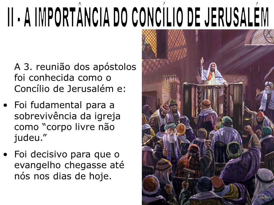 A 3. reunião dos apóstolos foi conhecida como o Concílio de Jerusalém e: Foi fudamental para a sobrevivência da igreja como corpo livre não judeu. Foi