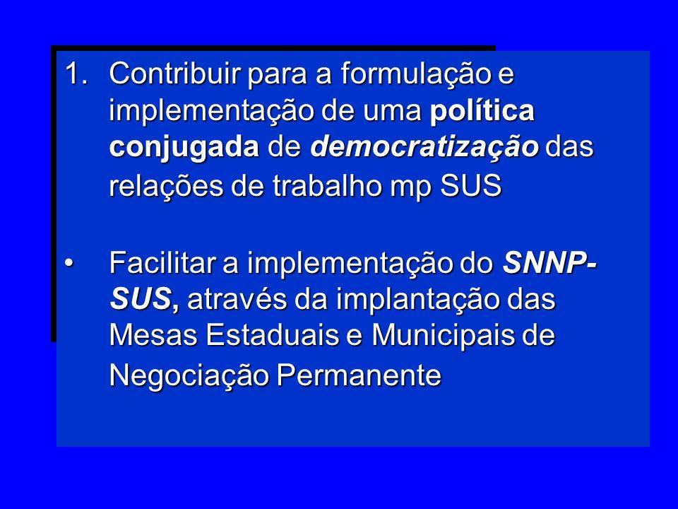 1.Contribuir para a formulação e implementação de uma política conjugada de democratização das relações de trabalho mp SUS Facilitar a implementação d