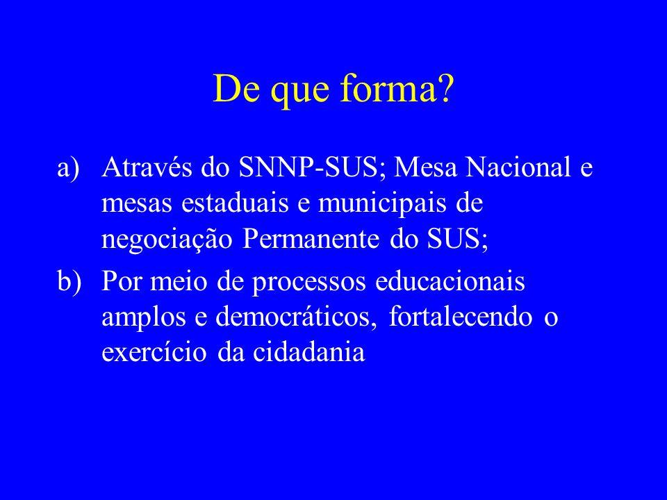 De que forma? a)Através do SNNP-SUS; Mesa Nacional e mesas estaduais e municipais de negociação Permanente do SUS; b)Por meio de processos educacionai