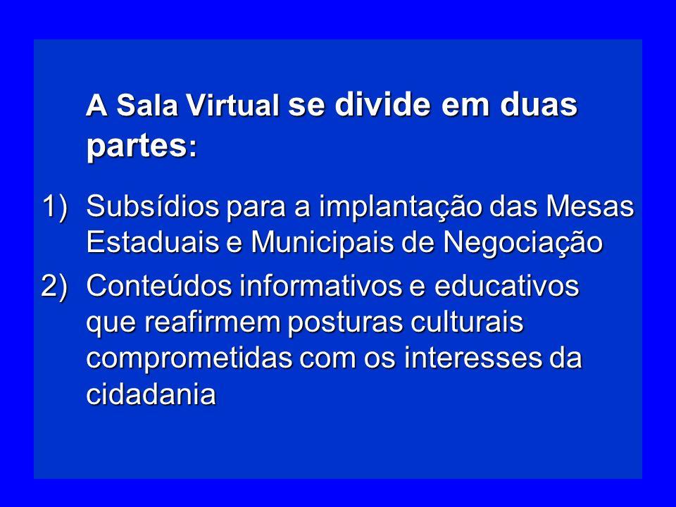 A Sala Virtual se divide em duas partes : A Sala Virtual se divide em duas partes : 1)Subsídios para a implantação das Mesas Estaduais e Municipais de