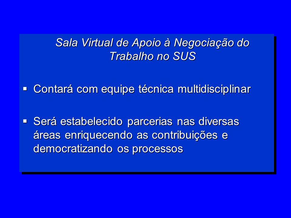 Sala Virtual de Apoio à Negociação do Trabalho no SUS Contará com equipe técnica multidisciplinar Contará com equipe técnica multidisciplinar Será est