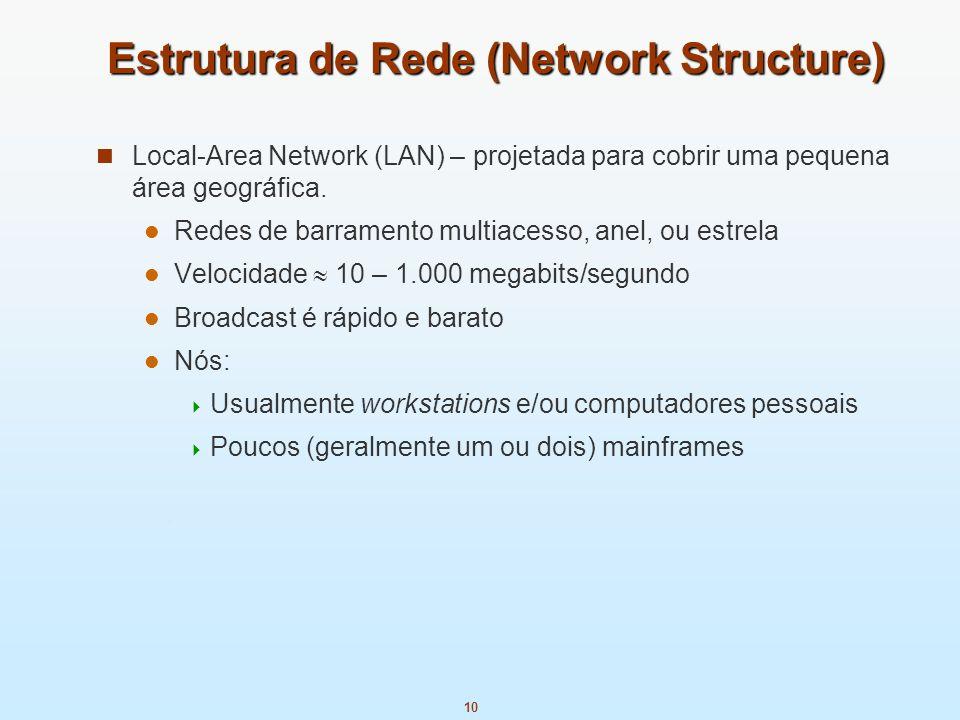 10 Estrutura de Rede (Network Structure) Local-Area Network (LAN) – projetada para cobrir uma pequena área geográfica. Redes de barramento multiacesso