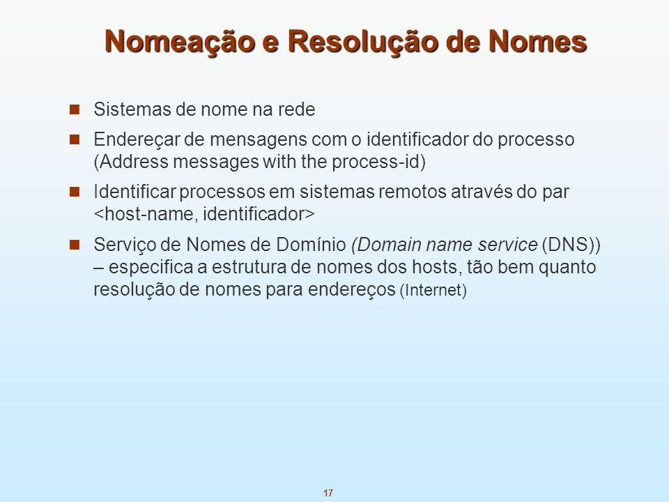 17 Nomeação e Resolução de Nomes Sistemas de nome na rede Endereçar de mensagens com o identificador do processo (Address messages with the process-id