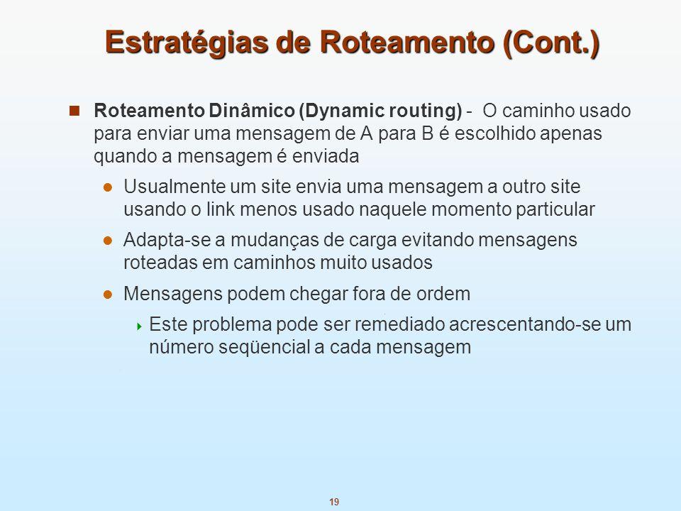 19 Estratégias de Roteamento (Cont.) Roteamento Dinâmico (Dynamic routing) - O caminho usado para enviar uma mensagem de A para B é escolhido apenas q