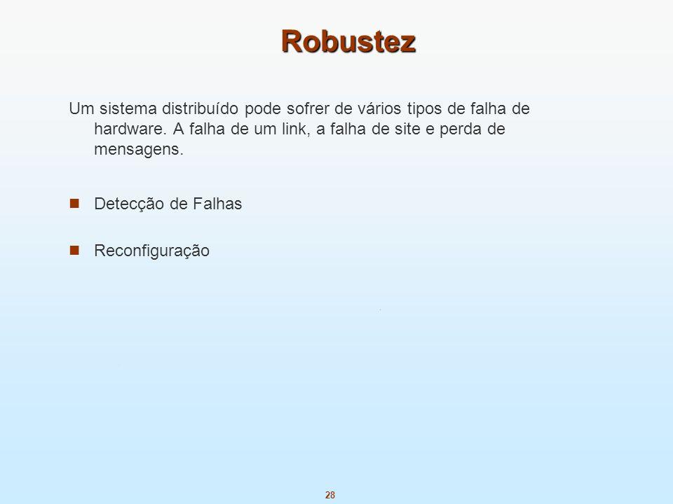 28 Robustez Um sistema distribuído pode sofrer de vários tipos de falha de hardware. A falha de um link, a falha de site e perda de mensagens. Detecçã