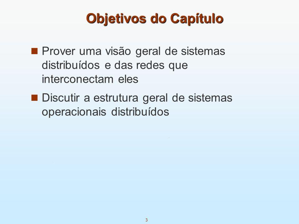 3 Objetivos do Capítulo Prover uma visão geral de sistemas distribuídos e das redes que interconectam eles Discutir a estrutura geral de sistemas oper